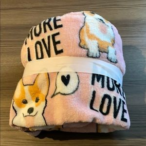 New Pink Love More Corgi Doggie Blanket